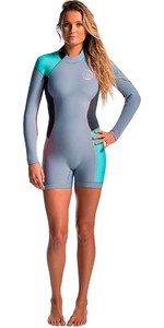 Rip Curl Womens Dawn Patrol Long Sleeve 2mm Back Zip Spring Shorty Wetsuit Turquoise WSP4GW