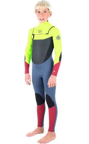 Rip Curl Junior Dawn Patrol 4/3mm GBS Chest Zip Wetsuit FLURO LEMON WSM6FB