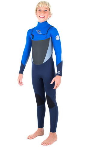 Rip Curl Junior Dawn Patrol 4/3mm GBS Chest Zip Wetsuit BLUE WSM6FB