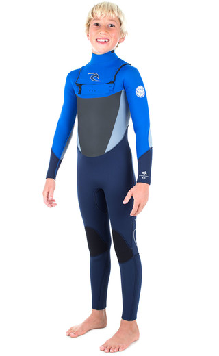 Rip Curl Junior Dawn Patrol 5/3mm Gbs Chest Zip Wetsuit Blue Wsm6gb Picture
