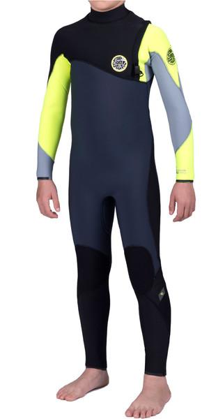Rip Curl Junior Flash Bomb 5/3mm GBS Zip Free Steamer Wetsuit FLURO LEMON WSM6NB