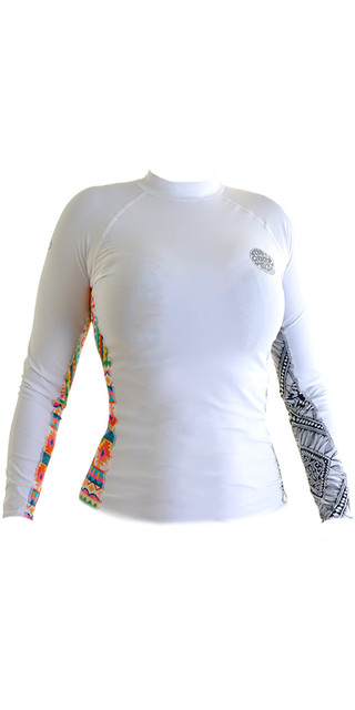 2018 Rip Curl Womens All Over Long Sleeve Rash Vest White Wle8kw Picture