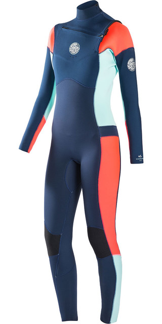 Rip Curl Womens Dawn Patrol 4/3mm Gbs Chest Zip Wetsuit Navy Wsm6jw Picture