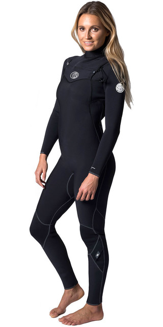 Rip Curl Womens Flashbomb 4/3mm Chest Zip Wetsuit Black Wsm6fg Picture