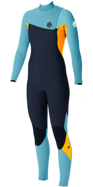 Rip Curl Womens G-Bomb 4/3mm GBS Zip-free Wetsuit SLATE / ORANGE WSM5IG
