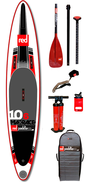 Red Paddle Co 10'6 Max Race Inflatable Stand Up Paddle Board + Bag, TITAN Pump, Glass Paddle, LEASH
