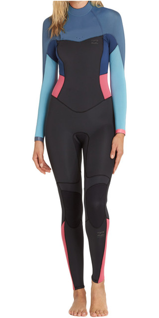 2018 Billabong Womens Synergy 4/3mm Back Zip Wetsuit Agave F44g12 Picture
