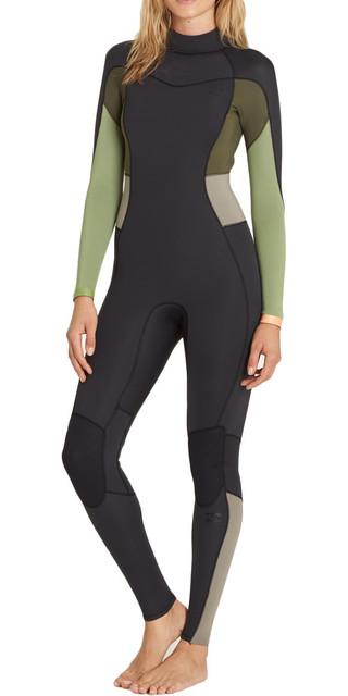 2018 Billabong Womens Synergy 4/3mm Back Zip Wetsuit Green Tea F44g12 Picture