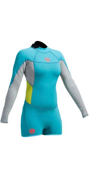 Gul Womens Surflite 2mm Long Sleeve Flatlock Shorty Wetsuit Cyan / Fog Blue SL3301-A9