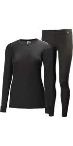 2020 Helly Hansen Womens Comfort Light Base Layer Set BLACK 48675