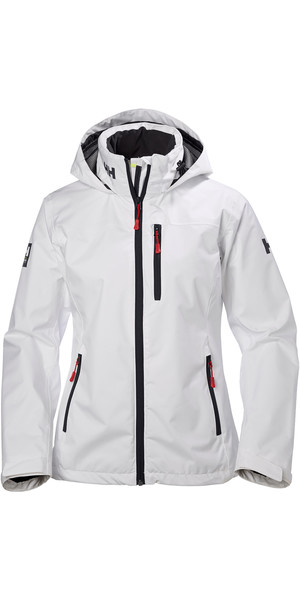 2019 Helly Hansen Womens Crew Hooded Jacket White 33899
