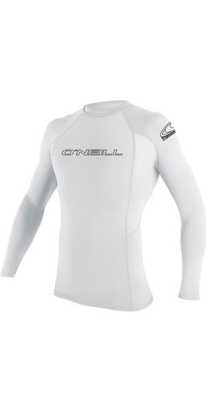 2019 O'Neill Basic Skins Long Sleeve Crew Rash Vest WHITE 3342