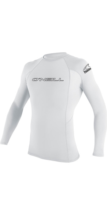 2021 O'Neill Basic Skins Long Sleeve Crew Rash Vest WHITE 3342
