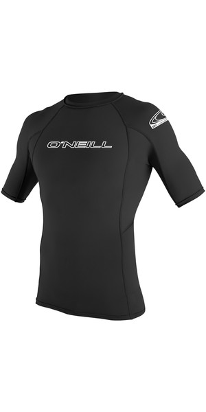 2018 O'Neill Basic Skins Short Sleeve Crew Rash Vest BLACK 3341