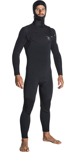 2018 Rip Curl Dawn Patrol 5/4mm Hooded Chest Zip Wetsuit BLACK WSM7SM