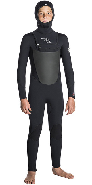 2018 Rip Curl Junior Dawn Patrol 5/4 Chest Zip Hooded Wetsuit Black Wsm7hb Picture