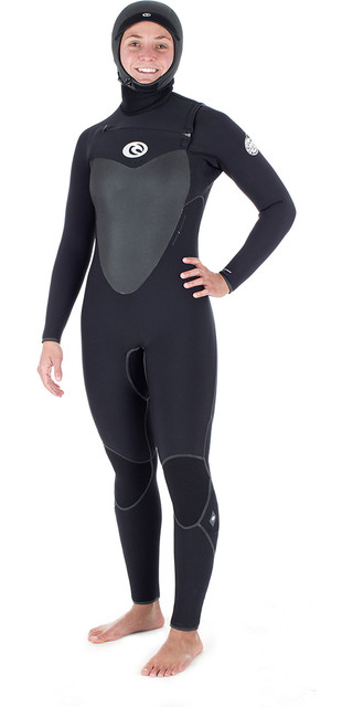 2018 Rip Curl Womens Flashbomb 6/4mm Hooded Chest Zip Wetsuit Black Wsm7hg Picture