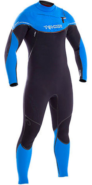 2018 Typhoon Kona 5/4/3mm GBS Chest Zip Wetsuit BLACK / Blue 250611