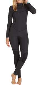 Billabong Teen Girls 4/3mm Synergy Chest Zip Wetsuit BLACK SANDS F44B15