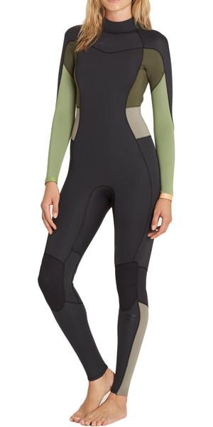 2018 Billabong Ladies Synergy 4/3mm Back Zip Wetsuit GREEN TEA F44G12
