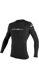 2019 O'Neill Basic Skins Long Sleeve Crew Rash Vest BLACK 3342
