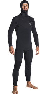 2019 Rip Curl Dawn Patrol 5/4mm Hooded Chest Zip Wetsuit BLACK WSM7SM