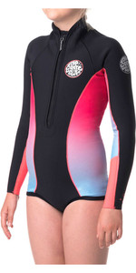Rip Curl Junior Girls G-Bomb 1mm Long Sleeve Shorty Wetsuit BRIGHT PINK WSP4LJ