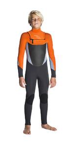 Rip Curl Junior Dawn Patrol 3/2mm Wetsuit Chest Zip WSM7EB - Grey / Orange