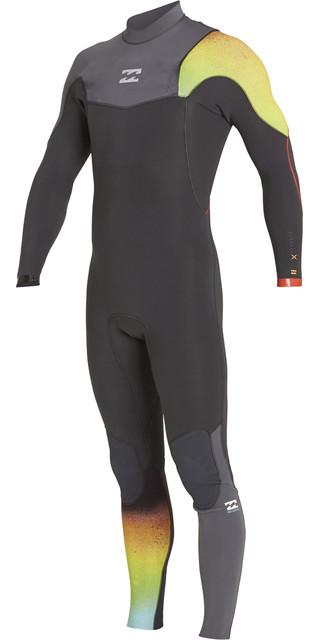 2018 Billabong Junior Furnace Carbon Comp 3/2mm Zip Free Wetsuit Graphite F43b10 Picture