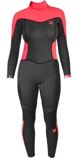 Billabong Junior Synergy 3/2mm Back Zip Flatlock Wetsuit in Coral Kiss C43B02
