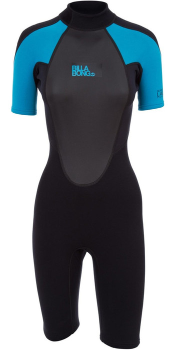 2020 Billabong Womens Launch 2mm Back Zip Shorty Wetsuit Black / Turquoise S42G03