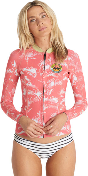 2cb591fd96 Billabong Ladies Surf Capsule 1mm Peeky Wetsuit Jacket CORAL SHINE C41G07  Billabong
