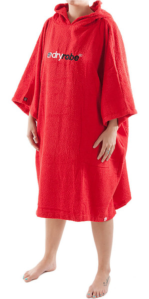 2018 Dryrobe Short Sleeve Towel Change Robe / Poncho - Large in Red