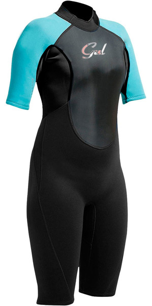Gul Response 3/2mm Junior Flatlock Shorty Wetsuit Black / Turquoise RE3321-A9
