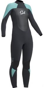 2019 Gul Response Womens 5/3mm GBS Back Zip Wetsuit Black / Pistachio RE1229-B1