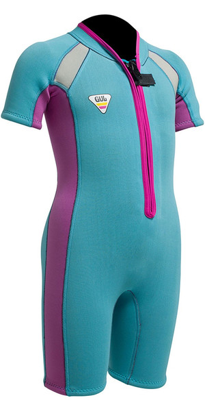 Gul SeaSpray Toddler 3/2mm Flatlock Shorty Wetsuit SS3301 Turquoise / Pink - 2ND