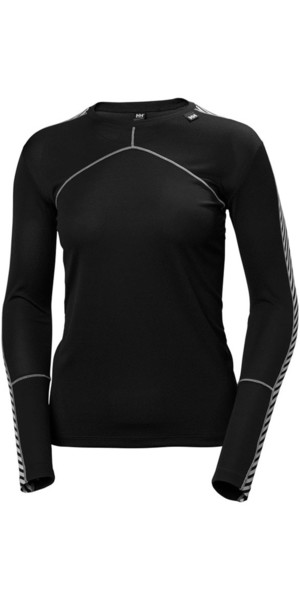 2018 Helly Hansen Womens HH Lifa L / S Crew Base Layer Black 48326