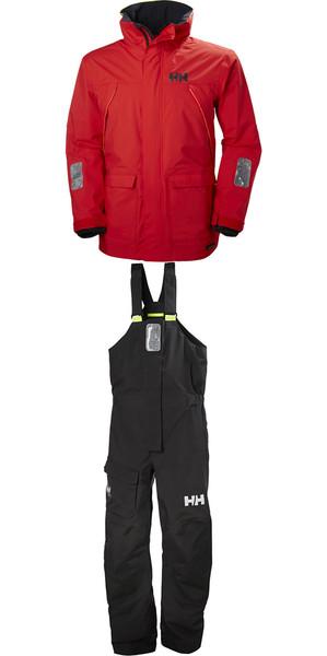 2018 Helly Hansen Pier Coastal Jacket 33872 & Trouser 33900 Combi Set in Alert Red / Ebony