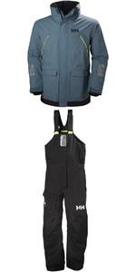 Helly Hansen Pier Coastal Jacket 33872 & Trouser 33900 Combi Set in Blue Mirage / Ebony
