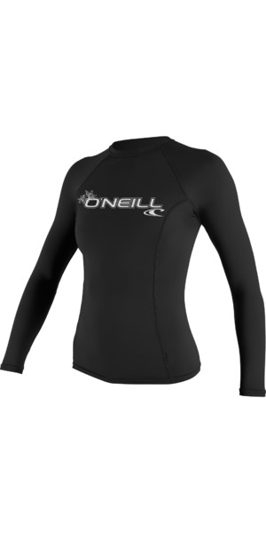 2018 O'Neill Womens Basic Skins Long Sleeve Crew Rash Vest BLACK 3549