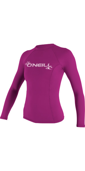 2018 O'Neill Womens Basic Skins Long Sleeve Crew Rash Vest FOX PINK 3549