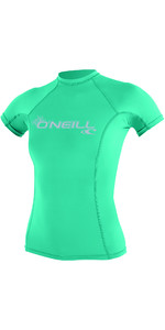 2019 O'Neill Womens Basic Skins Short Sleeve Crew Rash Vest SEAGLASS 3548