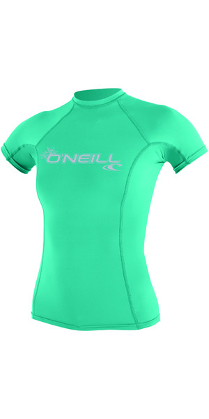 2018 O'Neill Womens Basic Skins Short Sleeve Crew Rash Vest SEAGLASS 3548