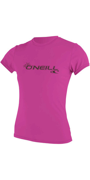 2018 O'Neill Womens Basic Skins Short Sleeve Rash Tee FOX PINK 3547