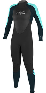 2018 O'Neill Ladies Epic 4/3mm Back Zip GBS Wetsuit BLACK / SEAGLASS 4214