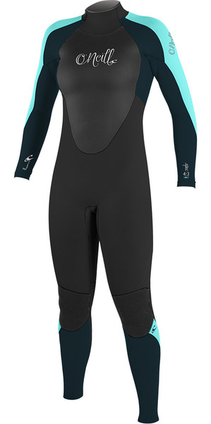 2018 O'Neill Womens Epic 4/3mm Back Zip GBS Wetsuit BLACK / SEAGLASS 4214