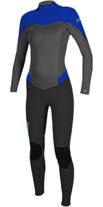 2018 O'Neill Womens Flair 4/3mm Back Zip Wetsuit BLACK / GRAPH / TAHITIAN BLUE 4766