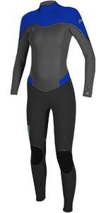 O'Neill Womens Flair 4/3mm Back Zip Wetsuit BLACK / GRAPH / TAHITIAN BLUE 4766