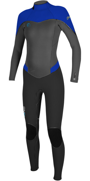 2018 O'Neill Ladies Flair 4/3mm Back Zip Wetsuit BLACK / GRAPH / TAHITIAN BLUE 4766