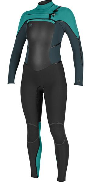2018 O'Neill Ladies Psycho Tech 4/3mm Chest Zip Wetsuit BLACK / BLUE / SEAGLASS 5029
